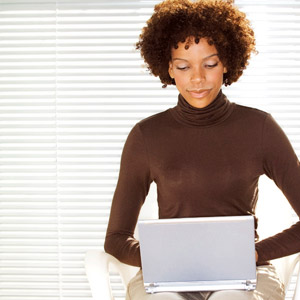 document scanning woman