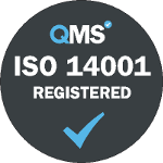 ISO 14001 environmental management accreditation grey logo. Our data capture and document scanning services in London and throughout the UK have been accredited to The ISO 14001 environmental management certification.