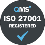 ISO 27001 information security accreditation grey logo. Our data capture and document scanning services in London and throughout the UK have been accredited to The ISO 27001 information security certification.