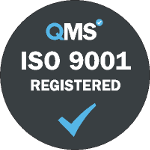 ISO 9001 quality management accreditation grey logo. Our data capture and document scanning services in London and throughout the UK have been accredited to The ISO 9001 quality management certification